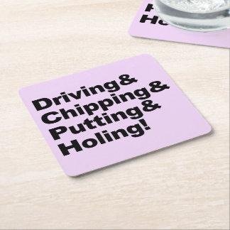 Porta-copo De Papel Quadrado Driving&Chipping&Putting&Holing (preto)
