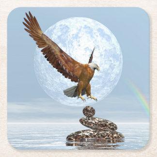 Porta-copo De Papel Quadrado Eagle que aterra em pedras equilibradas - 3D