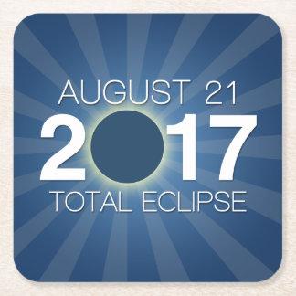Porta-copo De Papel Quadrado Eclipse solar total 2017 - design azul
