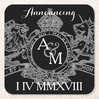 Porta-copo De Papel Quadrado Economias de prata pretas do emblema do unicórnio