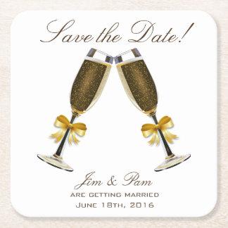 Porta-copo De Papel Quadrado Economias do brinde de Champagne a data