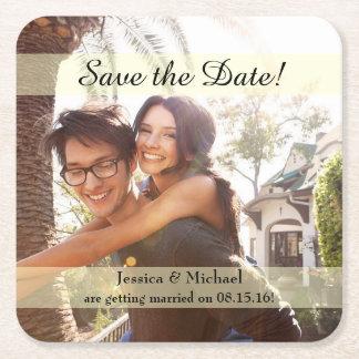 Porta-copo De Papel Quadrado Economias do casamento da foto do noivado a data