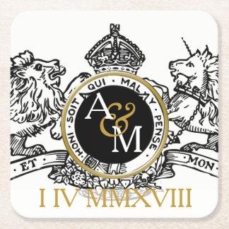 Porta-copo De Papel Quadrado Economias do emblema do unicórnio do leão do ouro