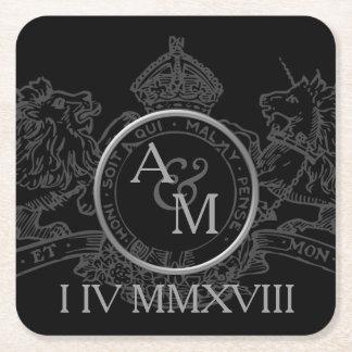 Porta-copo De Papel Quadrado Economias pretas do emblema da coroa do unicórnio