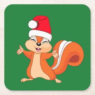 Porta-copo De Papel Quadrado Efervescente o esquilo brincalhão no Natal