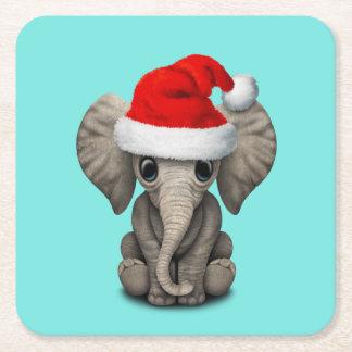 Porta-copo De Papel Quadrado Elefante do bebê que veste um chapéu do papai noel
