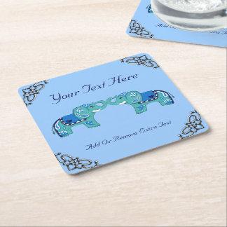 Porta-copo De Papel Quadrado Elefante do Henna (azul/luz - azul)