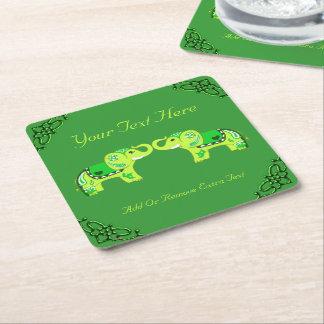 Porta-copo De Papel Quadrado Elefante do Henna (verde/verde limão)