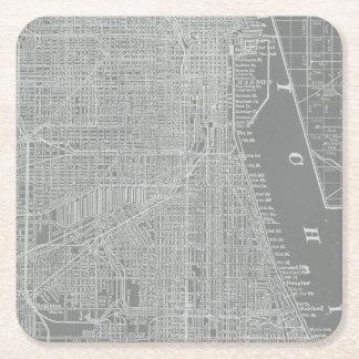 Porta-copo De Papel Quadrado Esboço do mapa da cidade de Chicago