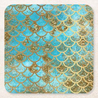 Porta-copo De Papel Quadrado Escalas de peixes iridescentes da sereia do brilho