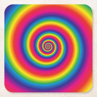 Porta-copo De Papel Quadrado Espiral do arco-íris
