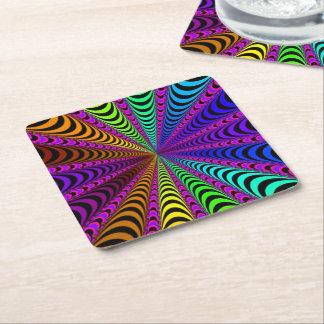 Porta-copo De Papel Quadrado Espiral do ESPECTRO, ilusão visual, arco-íris/rosa