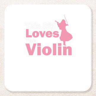 Porta-copo De Papel Quadrado Esta menina ama o presente do violino