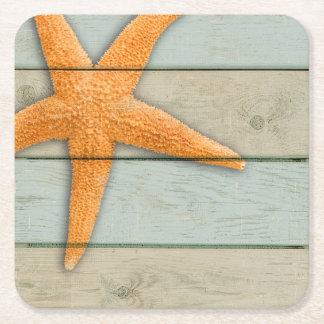 Porta-copo De Papel Quadrado Estrela do mar alaranjada