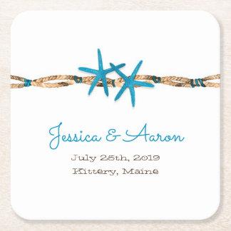 Porta-copo De Papel Quadrado Estrela do mar do Aqua e casamento da corda