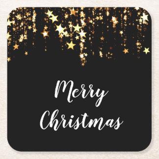 Porta-copo De Papel Quadrado estrelas modernas elegantes do ouro do Feliz Natal
