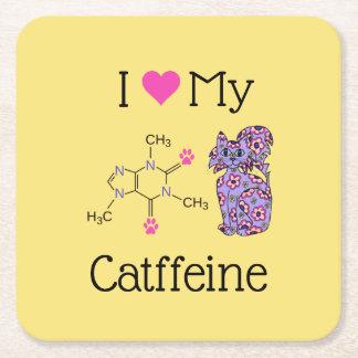 Porta-copo De Papel Quadrado Eu amo meu gato roxo lunático da cafeína de