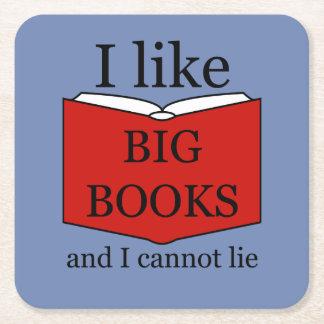 Porta-copo De Papel Quadrado Eu gosto de livros grandes