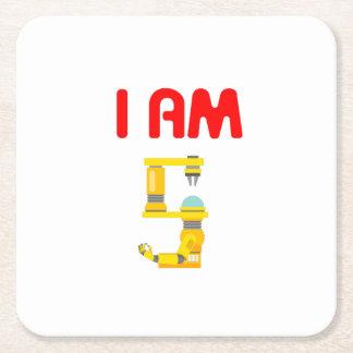 Porta-copo De Papel Quadrado Eu sou aniversário 2012 da evolução de 5 robôs o