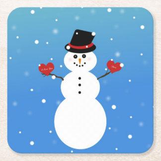 Porta-copo De Papel Quadrado Eu te amo mais boneco de neve