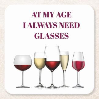 Porta-copo De Papel Quadrado Expressão dos vidros de vinho
