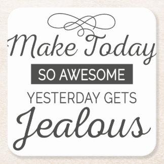 Porta-copo De Papel Quadrado Faça hoje citações inspiradores impressionantes