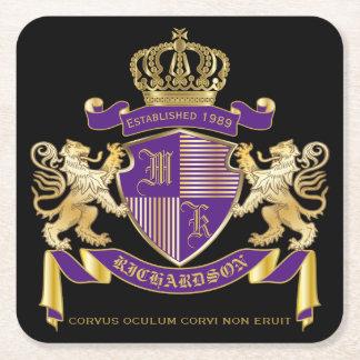 Porta-copo De Papel Quadrado Faça seu próprio emblema da coroa do monograma da