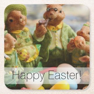 Porta-copo De Papel Quadrado Família e ovos do coelho de coelhinho da Páscoa