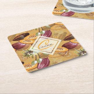 Porta-copo De Papel Quadrado Feijões de cacau, flores do chocolate, os