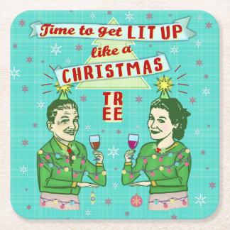 Porta-copo De Papel Quadrado Feriado adulto retro do bebendo da festa de Natal