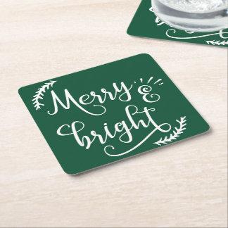 Porta-copo De Papel Quadrado feriado alegre e brilhante do Natal