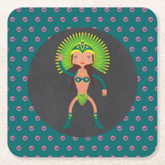 Porta-copo De Papel Quadrado Festa de aniversário brasileira da menina da samba