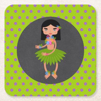 Porta-copo De Papel Quadrado Festa de aniversário havaiana da menina de Luau