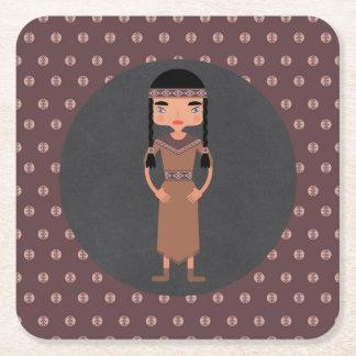Porta-copo De Papel Quadrado Festa de aniversário indiana da menina do nativo