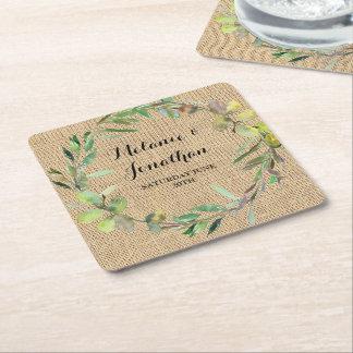 Porta-copo De Papel Quadrado Festa de casamento floral da esteira da porta