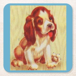 Porta-copo De Papel Quadrado filhote de cachorro pequeno bonito do lebreiro