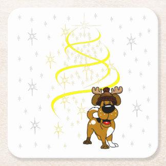Porta-copo De Papel Quadrado Filhotes de cachorro do Natal