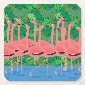 Porta-copo De Papel Quadrado Flamingos na parada