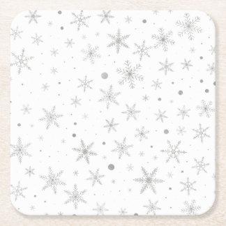 Porta-copo De Papel Quadrado Floco de neve da cintilação - cinza & Branco de