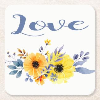 Porta-copo De Papel Quadrado Flores amarelas & azuis do amor floral da aguarela