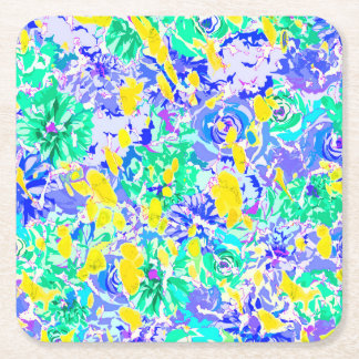 Porta-copo De Papel Quadrado Flores coloridas abstratas bonitos do primavera