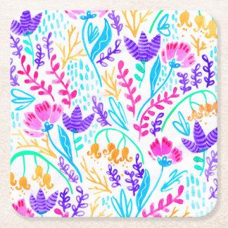 Porta-copo De Papel Quadrado Flores coloridas bonitos da aguarela
