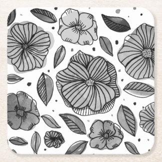Porta-copo De Papel Quadrado Flores da aguarela e da tinta - preto e branco