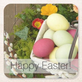 Porta-copo De Papel Quadrado Flores do primavera e cesta dos ovos da páscoa