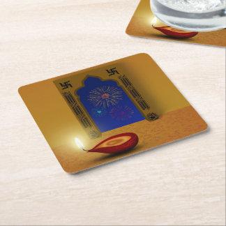 Porta-copo De Papel Quadrado Fogos-de-artifício felizes festivos de Diwali -