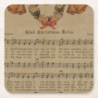 Porta-copo De Papel Quadrado Folha de música da canção de natal do natal