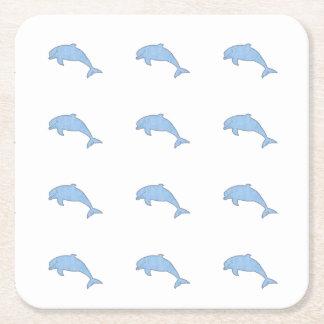 Porta-copo De Papel Quadrado Fontes azuis do partido dos golfinhos