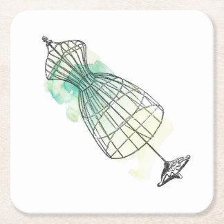 Porta-copo De Papel Quadrado Formulário do vestido da aguarela
