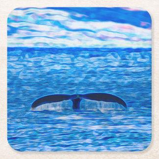 Porta-copo De Papel Quadrado Fractal da cauda da baleia azul e cor-de-rosa