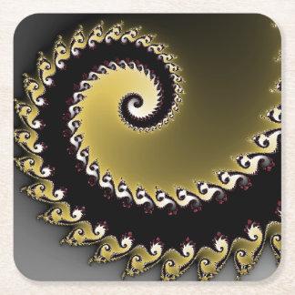 Porta-copo De Papel Quadrado Fractal. Ouro, prata, black.silver